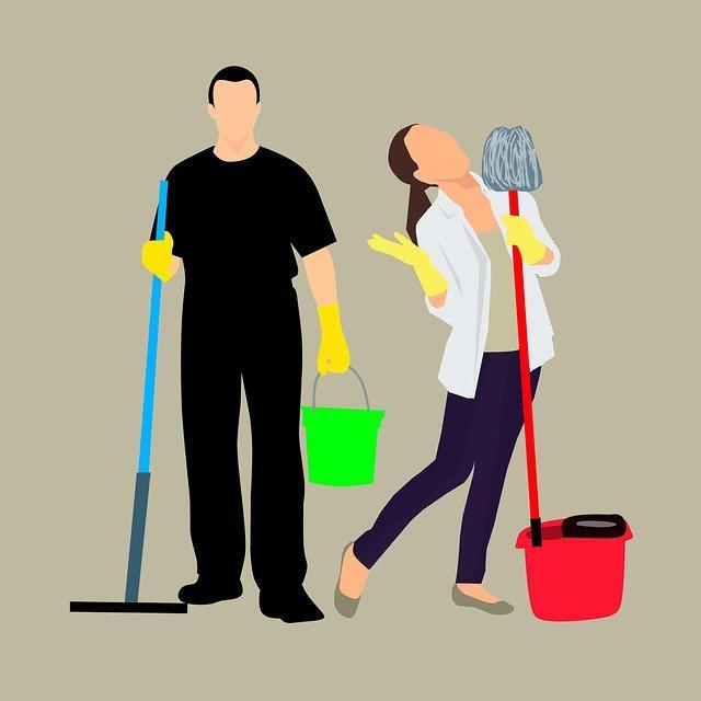 Illsutration d'un homme et d'une femme faisant le ménage.